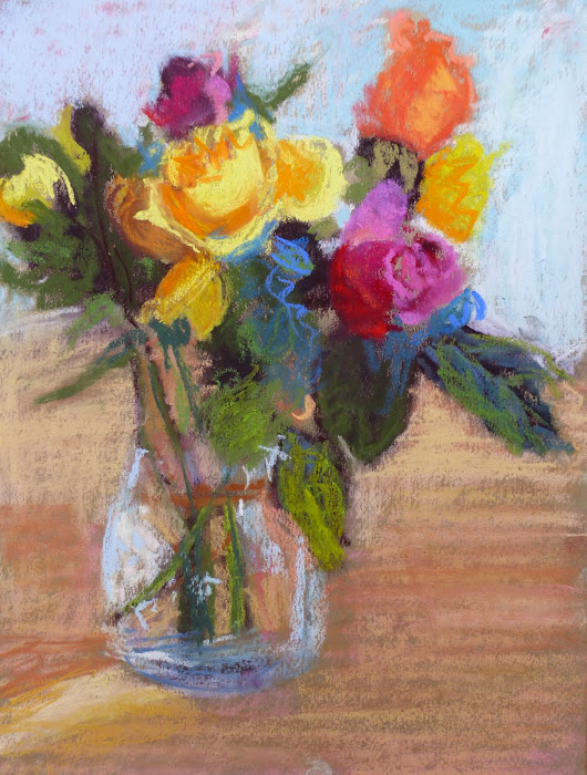 Colorful abstract impressionist Floral pastel painting Colorado artist Tracy Haines