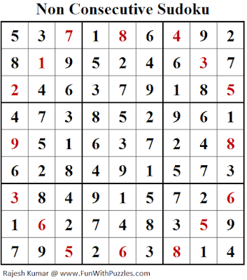 Non Consecutive Sudoku (Fun With Sudoku #260) Solution
