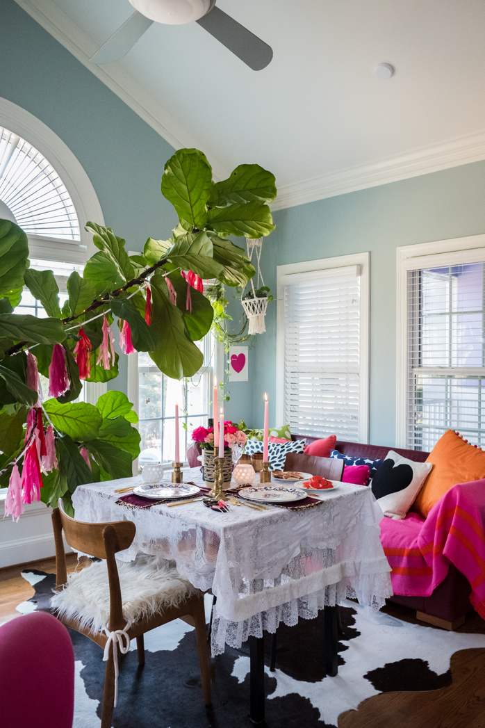 A Stylish and Romantic Valentine's Day Dinner At Home Using Mostly Thrifted Pieces- design addict mom