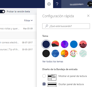 Configuracion rapida Outlook Mail Beta, panel lectura y mas