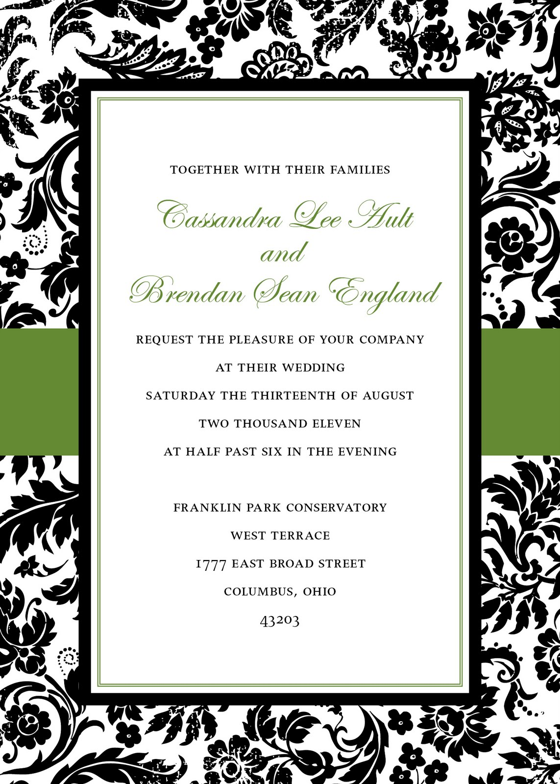Damask Wedding Invitations  2013