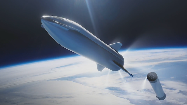 SpaceX Big Falcon Rocket (BFR) v2018 stage separation