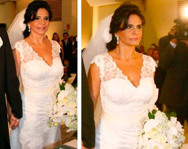 Gretchen vestido de noiva casamento com Silvio
