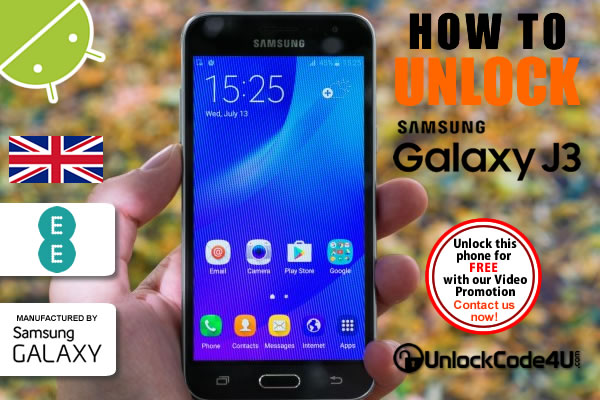 Factory Unlock Code Samsung Galaxy J3 from EE Network