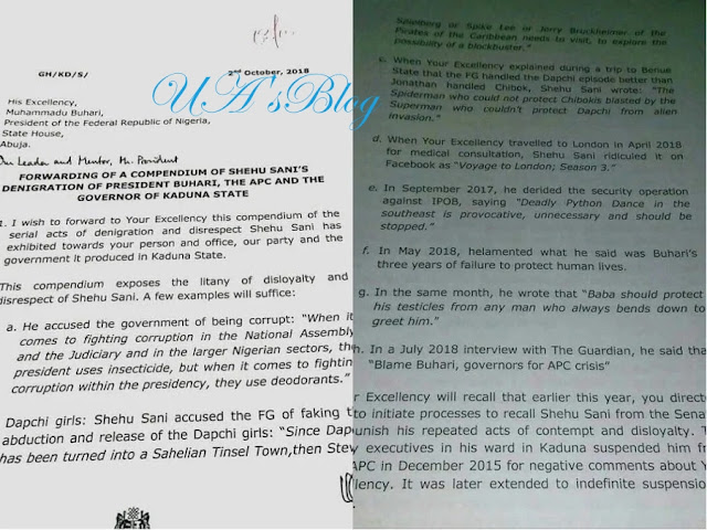 Automatic ticket: El-Rufai allegedly writes Buhari, lists Senator Shehu Sani sins against the president (READ LETTER)