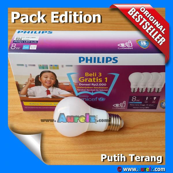 lampu led philips 8 watt cool daylight / putih terang beli 3 gratis 1 edisi unicef pack edition