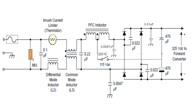 Passive power factor correction  PFC circuit diagram