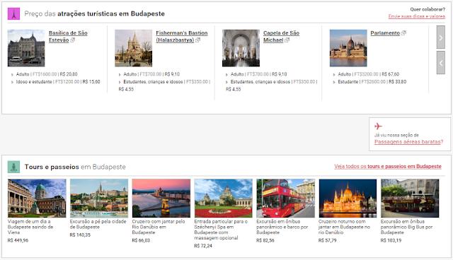 Preço atrações turísticas Budapeste