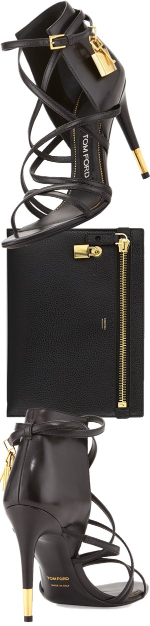 TOM FORD Large Calfskin Zip Clutch Bag, Black
