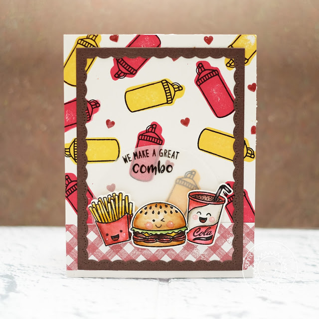 Sunny Studio Stamps: Fast Food Fun Stamped Background Friendship Card by Lexa Levana