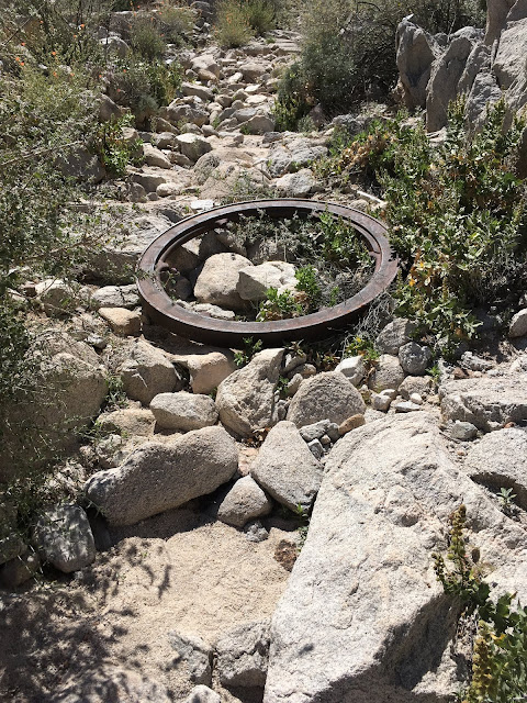 Cast iron flywheel lies in the trail on the way to the Betty Lee Mine
