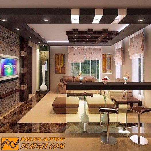 Platre - Model faux plafond salon ...