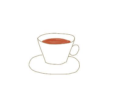 アイコン 「紅茶」 (作: 塚原 美樹) ~ カップの中の紅茶を描く