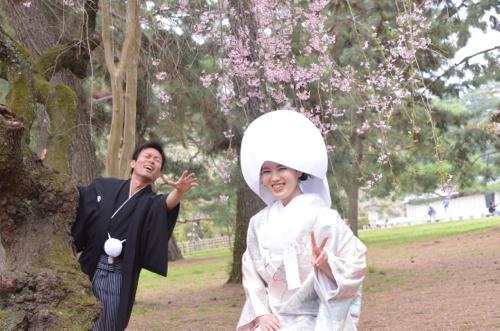 綿帽子和装前写し前撮り