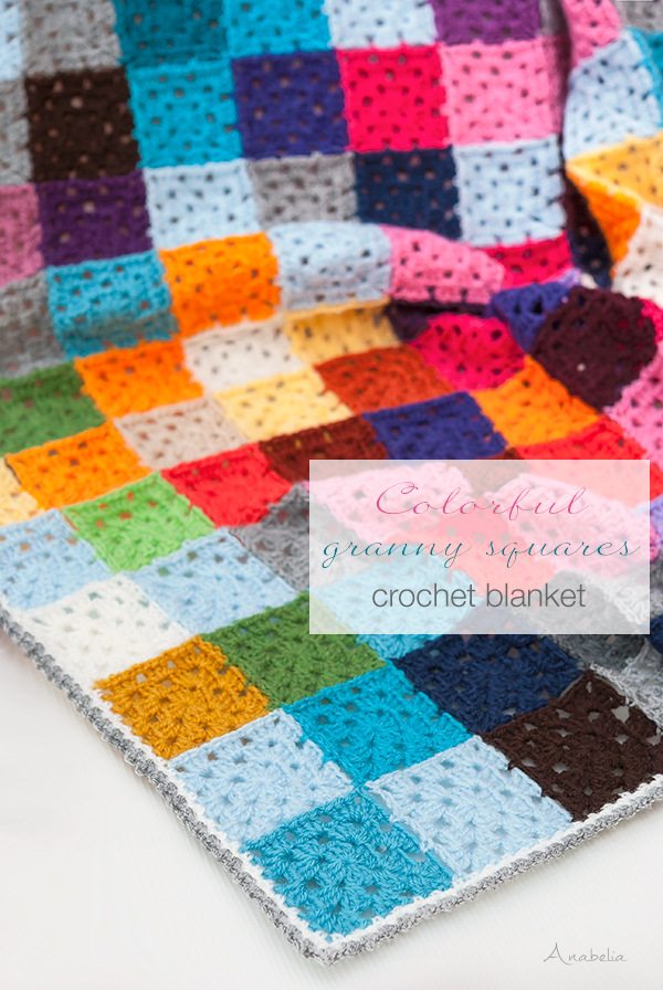 Cosy and Colorful Granny Squares Crochet Blanket by Anabelia Craft Design