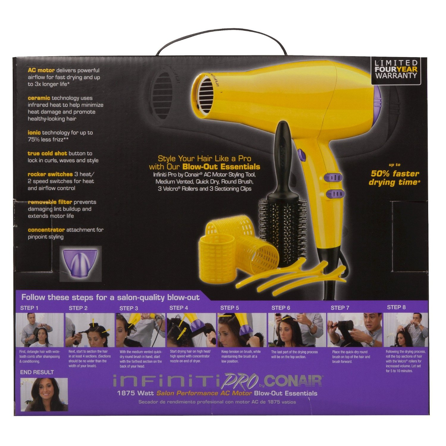 Conair 1875 Watt Infiniti Pro Limited Edition Out Hair Dryer Essentials Tool Set Yellow Model 325 This