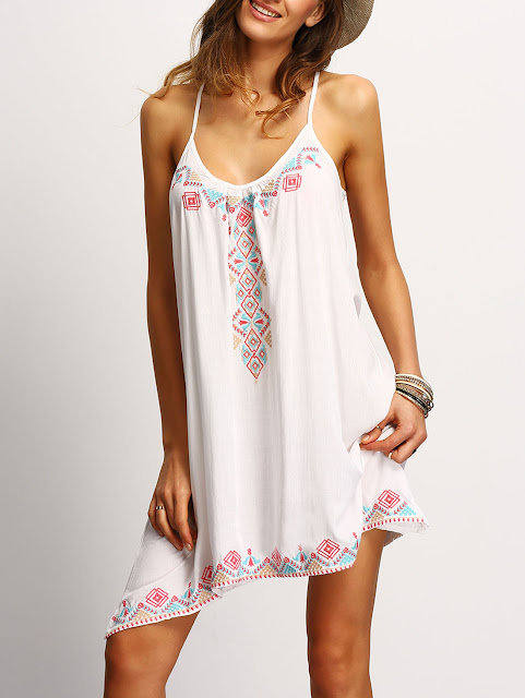 White Spaghetti Strap Embroidered Dress