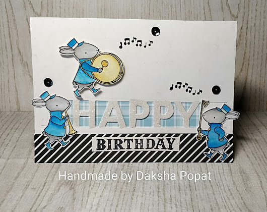 Birthday Pop-up card with MFT stamp