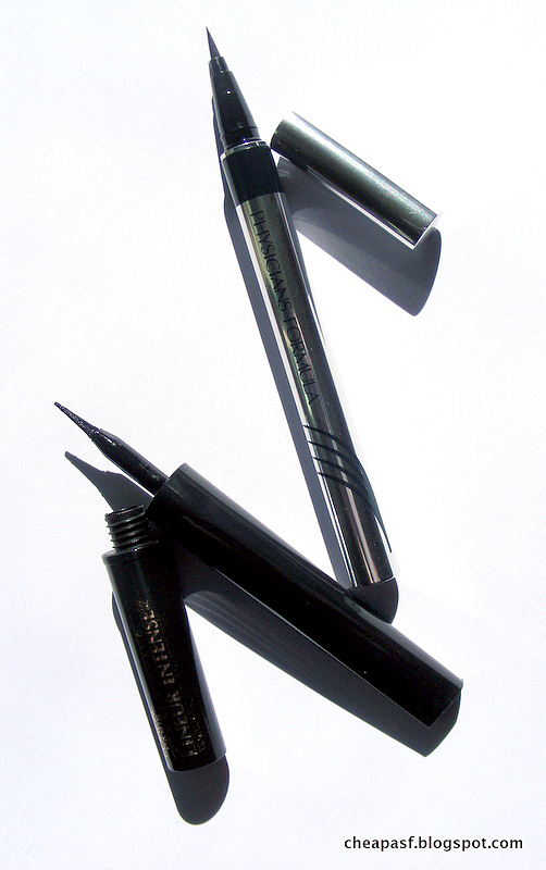Drugstore Liquid Eyeliner Review Showdown: L'Oréal Lineur Intense Felt Tip Liquid Eyeliner in Carbon Black vs. Physician's Formula Eye Booster 2-in-1 Lash Boosting Eyeliner + Serum in Ultra Black