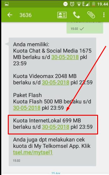 cara menggunakan kuota local data telkomsel di daerah lain