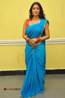 Telugu Actress Vaibhavi Stills in Blue Saree at Www.Meena Bazaar Movie Opening  0108.JPG