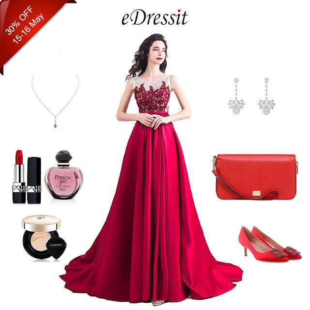 New Red Elegant Emboridery Beads Formal Dress