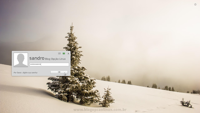 Tela de login do Linux Mint 18.1 MATE