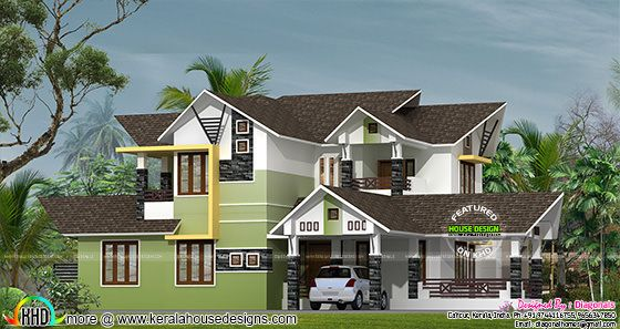 250 square meter modern sloping roof house