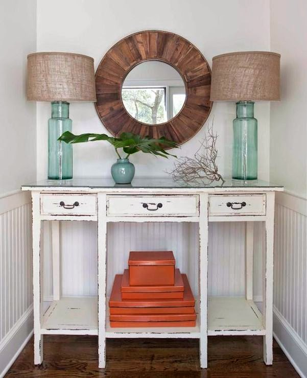 Same Idea Symmetrical Aqua And Gl Lamps With Driftwood Distressed Beach Cottage Furniture Safe Add Practical But Interesting Bo In Orange