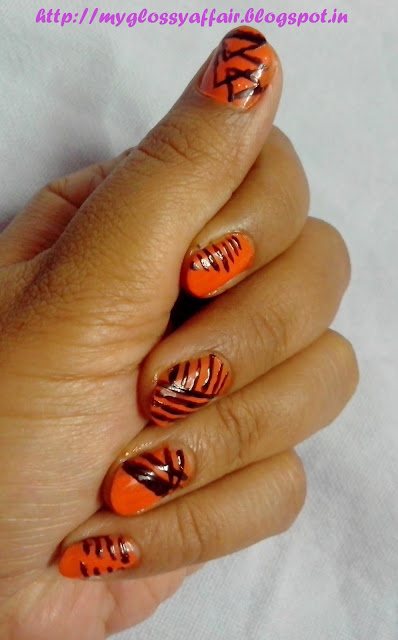 Orange Black Striped Nail Art