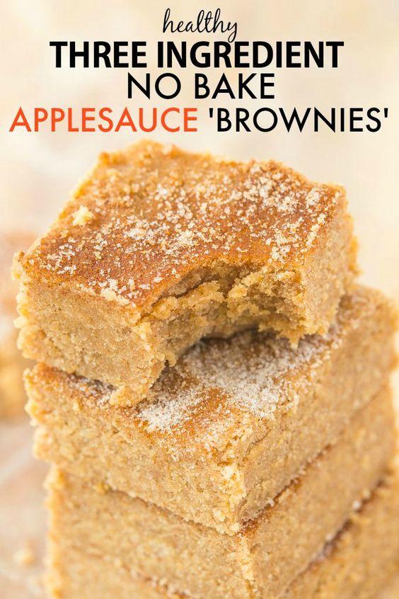 Healthy 3 Ingredient No Bake Applesauce Brownies