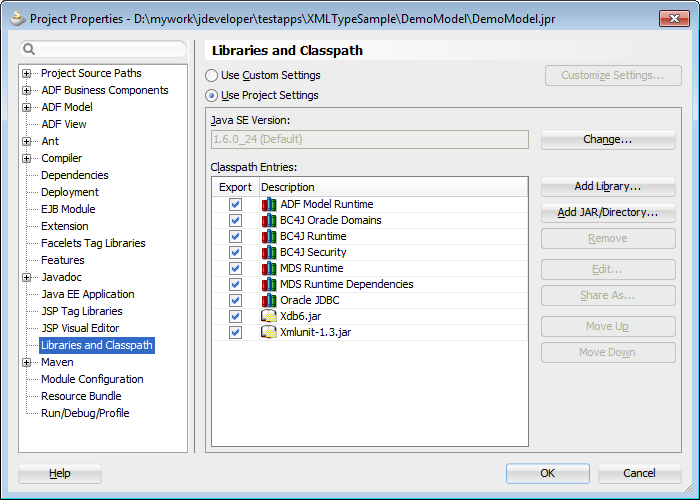 Using XMLTYPE with ADF Business Components