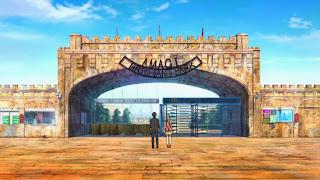 Screen z Amagi Brilliant Park ukazujący wejście do parku rozrywki w opłakanym stanie