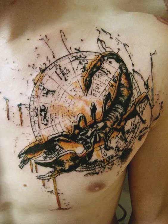 geometric style Scorpio zodiac tattoos