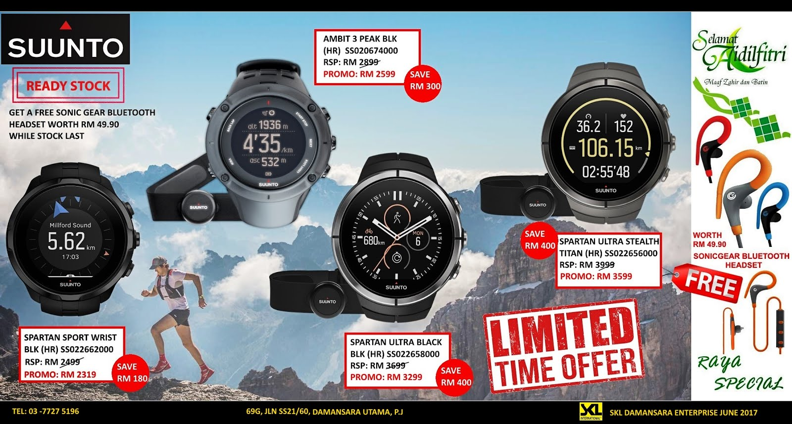 Raya Promotion!Suunto Spartan & Ambit 3 Peak Series Free SonicGear Bluetooth Headset worth RM49.9