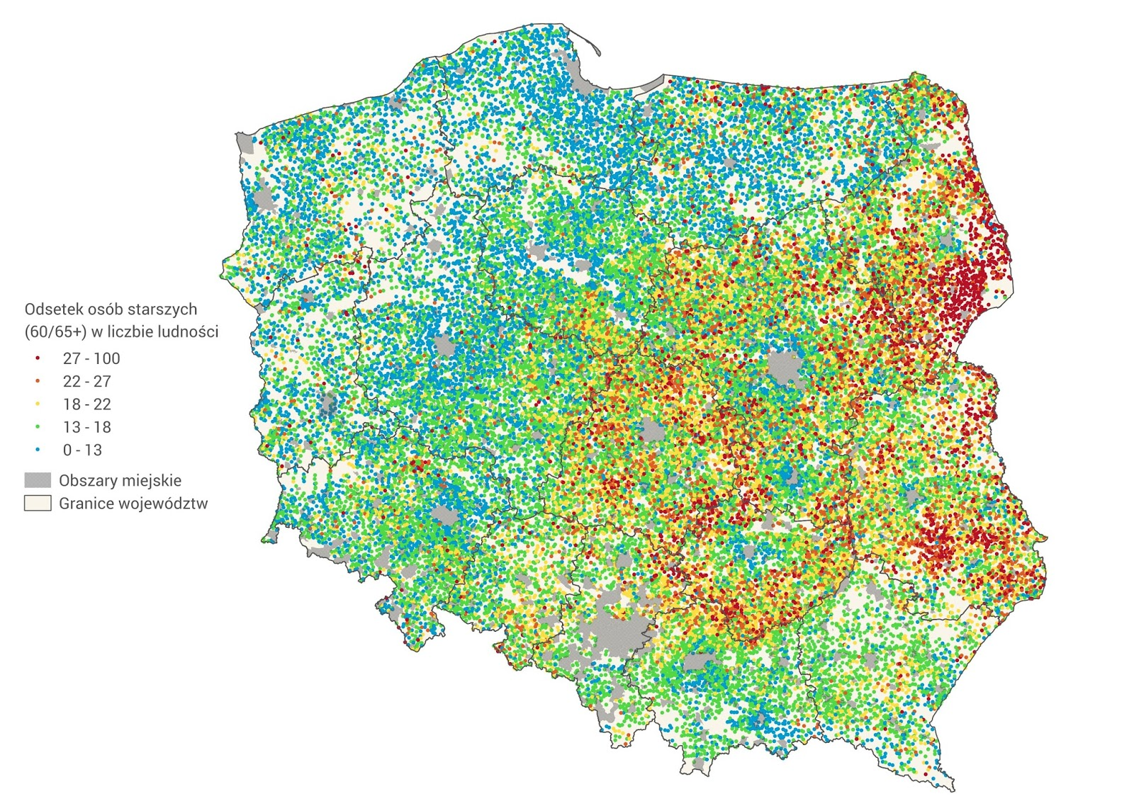 Villages of Poland by percentage of people aged 65+