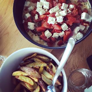 Latmansbiff med klyftpotatis i ugn