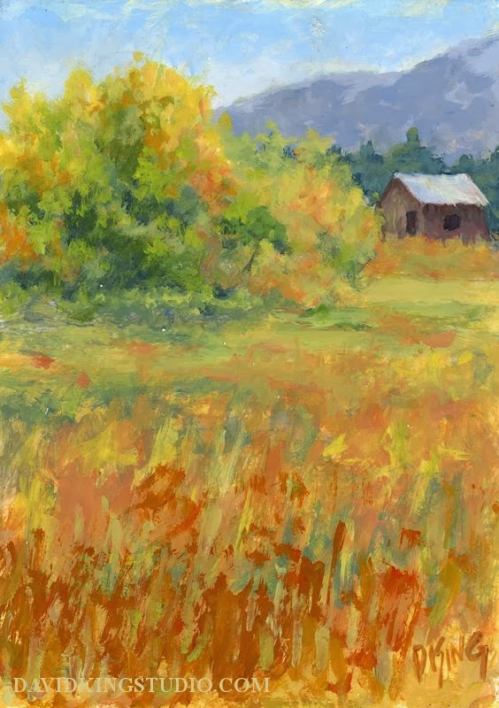 art painting landscape barn autumn fall foliage impressionism
