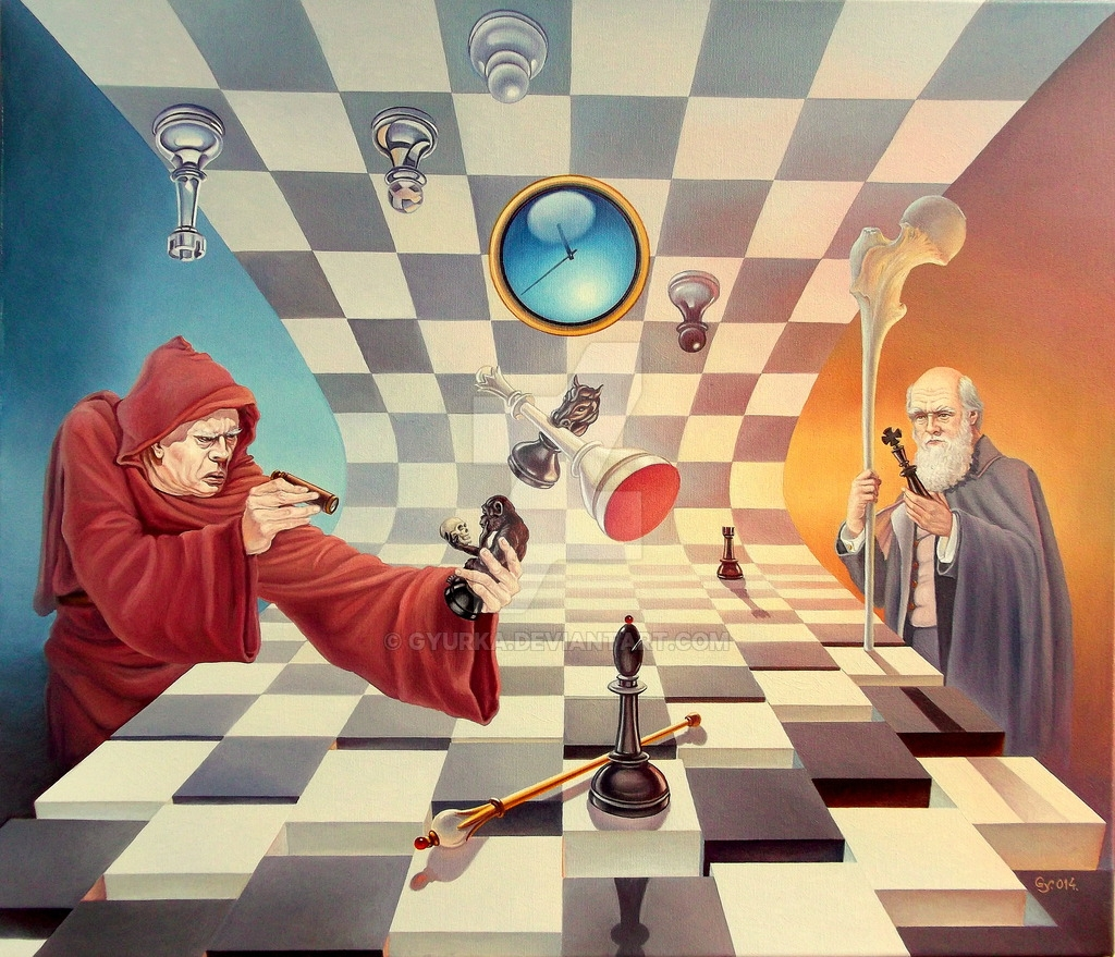 01-Darwin-vs-Torquemada-Gyuri-Lohmuller-Surreal-Oil-Paintings-full-of-Meaning-www-designstack-co