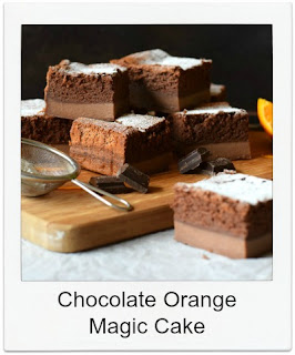 Wow friends and family with this chocolate orange magic cake, a tray bake style bake, which is equally delicious as it is interesting.  Magic cakes are relatively easy to make, using one batter to produce a cake with three layers.