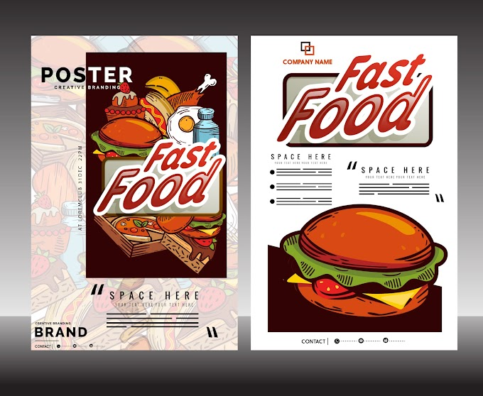 Fast food flyer template classical colorful decor Free vector