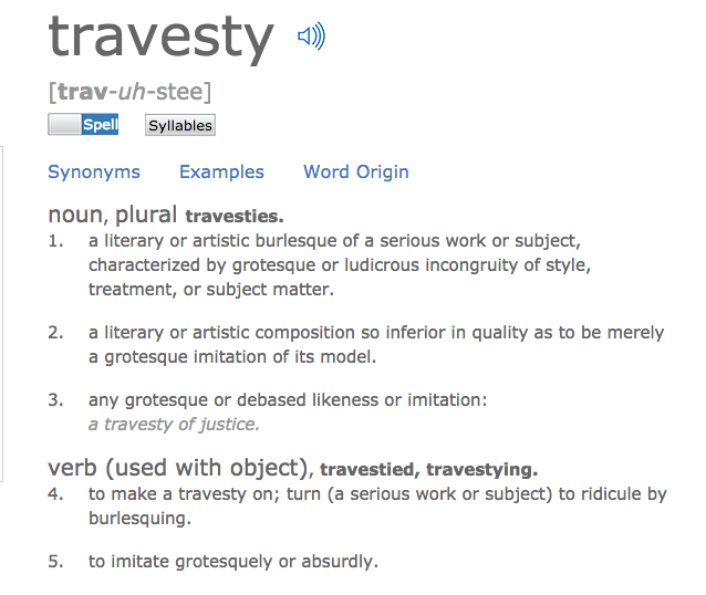 Etymology in your message travesty