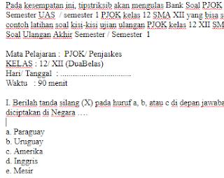 Soal-UKK-UAS-PJOK-Penjaskes-Kelas-12-SMA-Semester-1