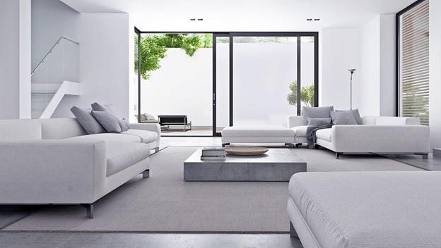 Trang trí phòng khách đẹp với gam màu trắng chủ đạo