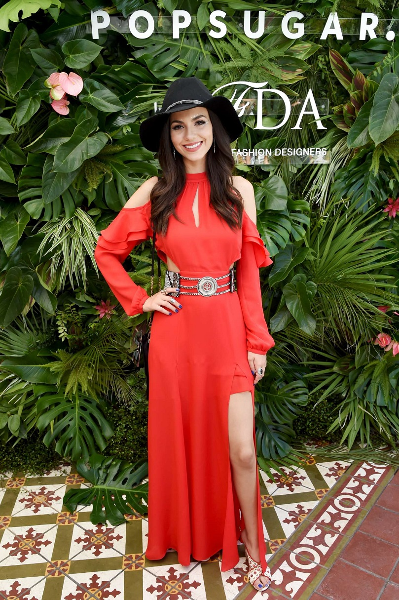 Victoria Justice wears a cold shoulder maxi dress to the Popsugar Coachella party