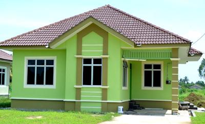 Perpaduan Warna Cat Hijau Tampilan Depan Rumah Minimalis Yang Menarik 5