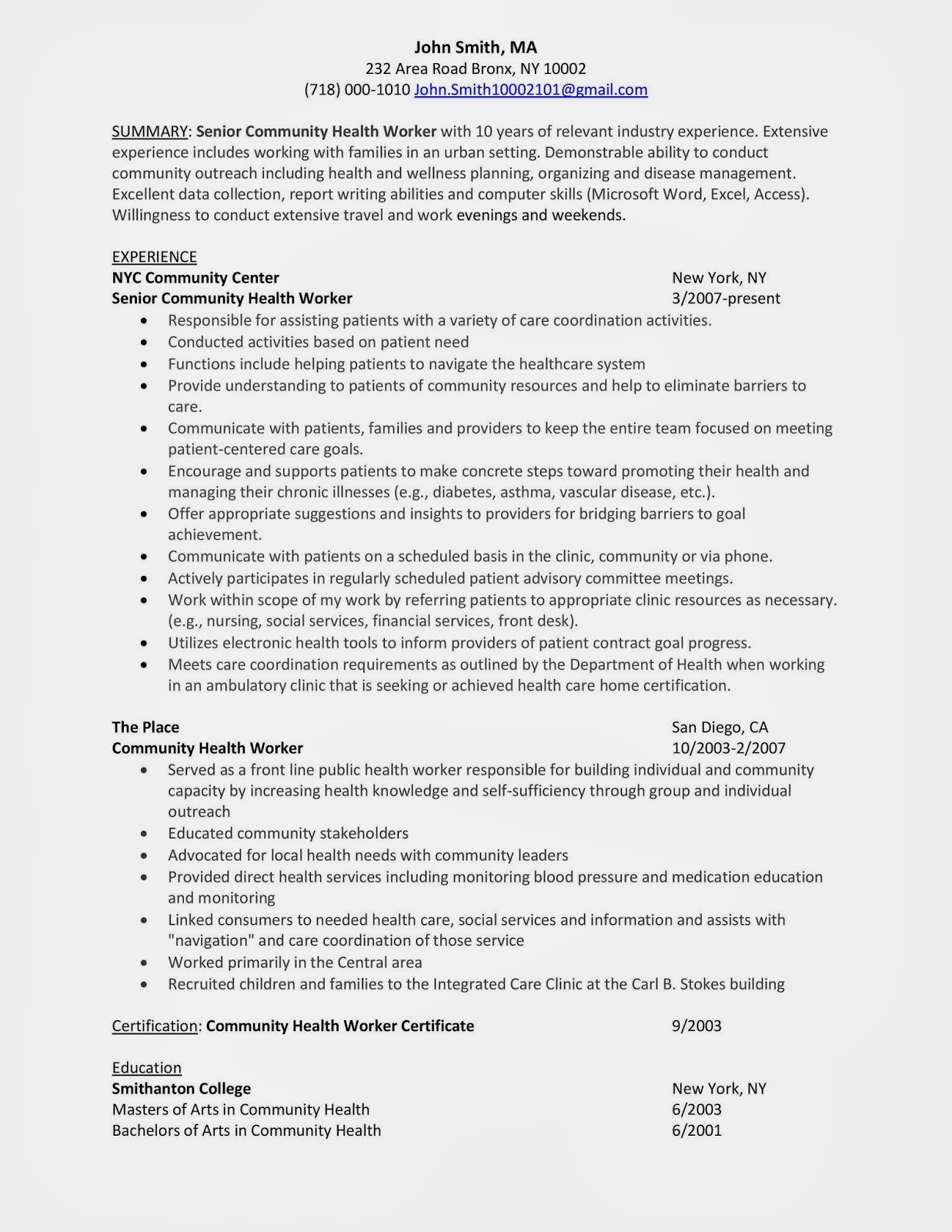 sample resume for a outreach counselor