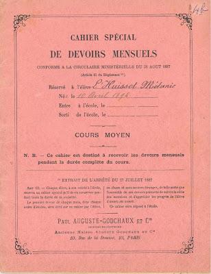 Cahier spécial de devoirs mensuels, 1904 (collection musée)