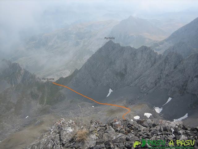 Vista desde Fontán Sur de parte del camino de regreso