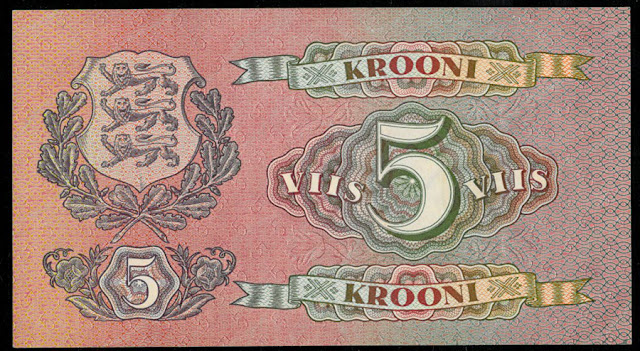 World paper money currency collecting 5 Estonian Krooni banknote